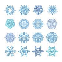 Vari fiocchi di neve invernali vettore