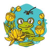 Stampa per bambini. Il re è una rana. vettore