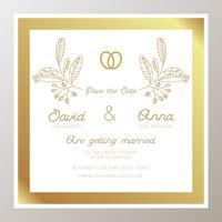 Invito a nozze romantico con anelli d'oro