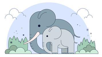 Vettore della famiglia degli elefanti