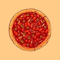 pizza vintage con mozzarella vettore