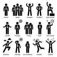 Personaggio di uomo d'affari attitudine personaggi personaggi figura stilizzata pittogramma icone.