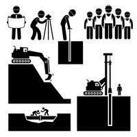 Costruzione ingegneria civile Earthworks Worker Stick Figure pittogramma icona Cliparts. vettore