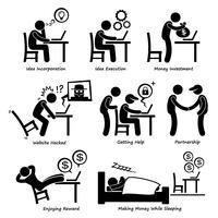 Processo aziendale online Internet Stick Figure Pictogram Icon Cliparts. vettore
