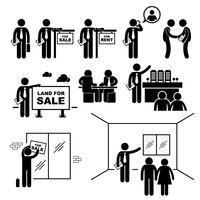 Proprietà agente immobiliare Client cliente Stick Figure pittogramma icona.