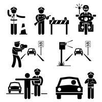 Icona del pittogramma di figura del bastone di traffico dell'ufficiale di polizia su dovere. vettore