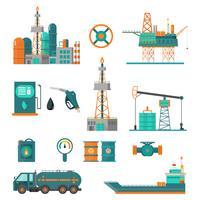 Insieme di produzione di estrazione petrolifera e trasporto di petrolio e benzina, rig e barili su icone di cartone piatto