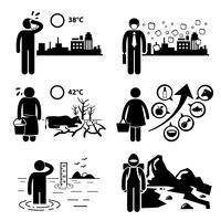 Effetto serra riscaldamento globale figura stilizzata pittogramma icone clipart.