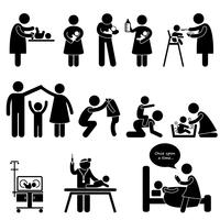 Icona del pittogramma di figura stilizzata di cura del bambino di padre madre bambino della tata. vettore