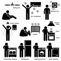 Home House Elettrodomestici di base Stick Figure Pictogram Icon Clipart. vettore