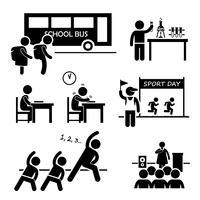 Evento di attività scolastiche per clipart icona stilizzata studente pittogramma figura. vettore