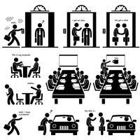 Presentazione aziendale Idea presentazione Vendite ascensore Pitch investitori Venture Capitalist Meeting Stick Figure pittogramma icona. vettore