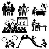 I bambini hanno bisogno di Parent Love Supports Stick Figure Pictogram Icon Cliparts. vettore