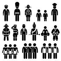 Abbigliamento uniforme Abbigliamento Abbigliamento Captain Scout Guard Studente Chef Fireman Soldato Esercito Sailor Trainee Dipendente lavoratore bastone figura stilizzata pittogramma icona. vettore