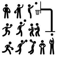 Pittogramma di simbolo del segno dell'icona del giocatore di pallacanestro. vettore