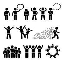 Azione di bambini Pose Welfare Rights Stick Figure Pictogram Icon Clipart. vettore
