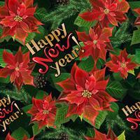 Reticolo senza giunte di Natale con fiori poinsettia, rami di abete e lettering vettore