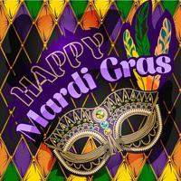 Maschera di Mardi Gras, poster colorato, modello, volantino. Illustrazione vettoriale