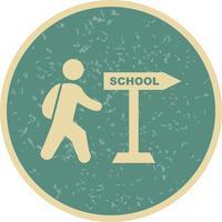 Icona di vettore a piedi a scuola
