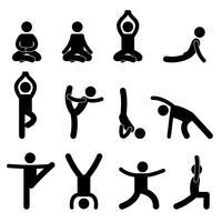 Yoga meditazione esercizio stretching pittogramma. vettore