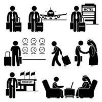 Icona del pittogramma di figura stilizzata di viaggio dell'uomo d'affari di viaggio di affari.