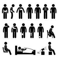 Icona del pittogramma di figura di bastone di dolore di ferita di strumenti dell'attrezzatura di sostegno del corpo umano.