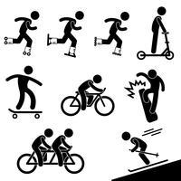 Pittogramma del segno di simbolo dell'icona di attività di pattinaggio e di guida.