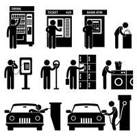 Uomo che usando il pittogramma del segno di simbolo dell'icona della macchina pubblica automatica. vettore