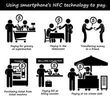Pagando con tecnologia Phone NFC Stick Figure Pictogram Icons. vettore