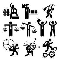 Gente di affari dell'uomo d'affari concetto Stick Figure pittogramma icona Cliparts. vettore