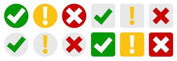 insieme di raccolta di segni di spunta, punto esclamativo, pulsanti delle icone del segno x vettore