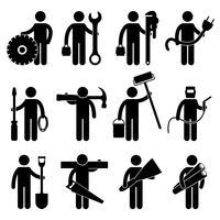 Simbolo del segno del pittogramma dell'icona di lavoro dell'operaio di costruzione.