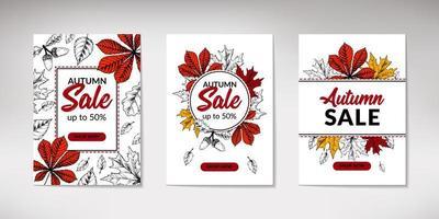 set di striscioni di vendita autunnali disegnati a mano con foglie. design autunnale verticale con spazio per il testo. illustrazione vettoriale