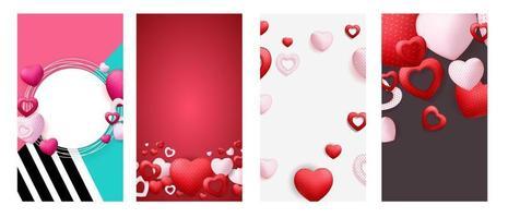 San Valentino amore sfondo per storie post set. vettore