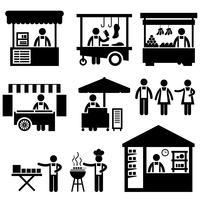 Business Stall Store Booth Mercato Marketplace Negozio icona simbolo segno pittogramma. vettore