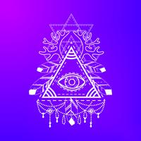 Simbolo della piramide occhio onniveggente. vettore