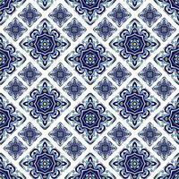 Piastrelle azulejo portoghesi. Patte senza cuciture splendide blu e bianche vettore