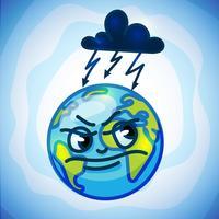 globo terra nel fumetto doodle vettore