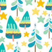 Inverno seamless con una foresta di Natale.