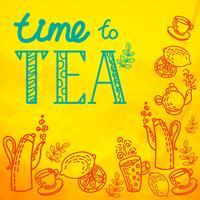 set di icone con tè in stile piatto vettore