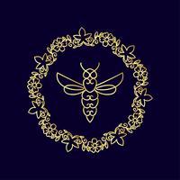insetto. Badge Bee per l'identità aziendale vettore