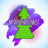 Albero di Natale con una sgangherata e acquerello vettore