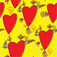 Modello senza cuciture con cuori e fiori con uno schizzo di grafica in stile doodle vettore