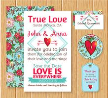 Invito a nozze salva le carte data vettore