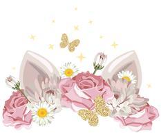 simpatico personaggio di catroon con corona floreale e elementi glitter dorati. Per il compleanno, baby shower, vestiti e poster design. vettore