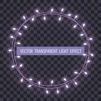 Cornice rotonda di luci di stringa sovrapposte, incandescente su uno sfondo trasparente. Illustrazione vettoriale