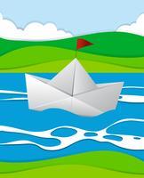 Barca di carta che galleggia nel fiume vettore