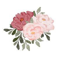 pittura ad acquerello rosa peonia bouquet di fiori vettore
