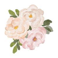 pittura ad acquerello rosa peonia composizione floreale vettore