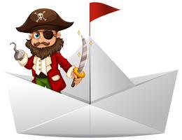 Pirata con spada in piedi su una barca di carta